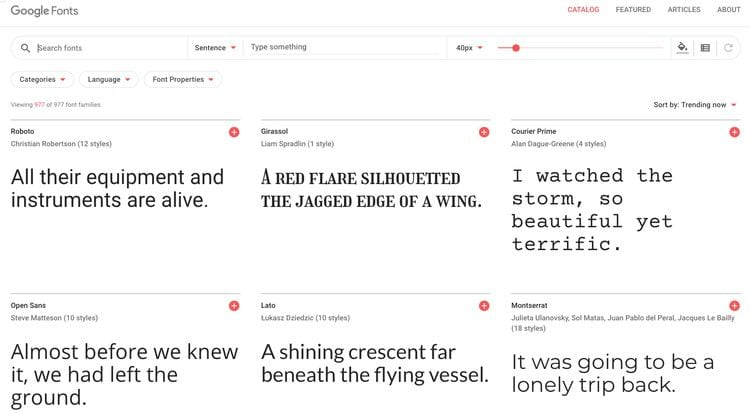 páginas donde descargar fuentes creativas para diseño gráfico: google fonts