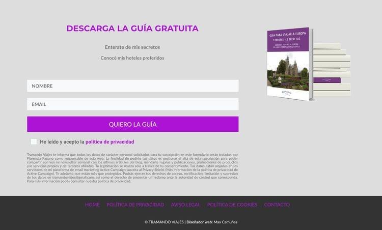 footer web: formularios suscripción (email marketing)