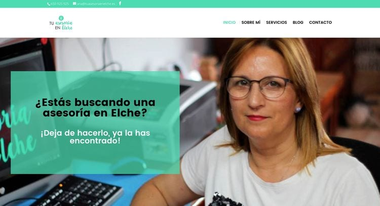 header web: datos de contacto