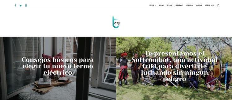 header web: menú