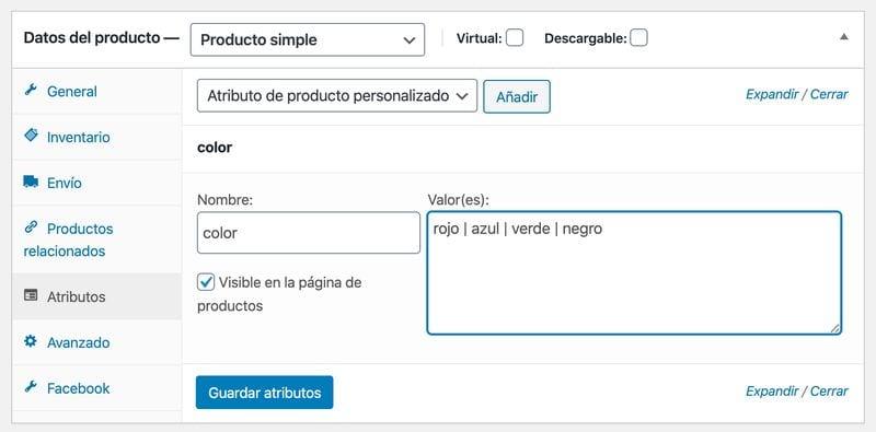 Crear una tienda online en WordPress: atributos WooCommerce