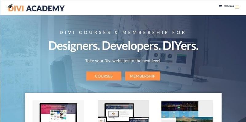 sitios de membresía: Divi Academy