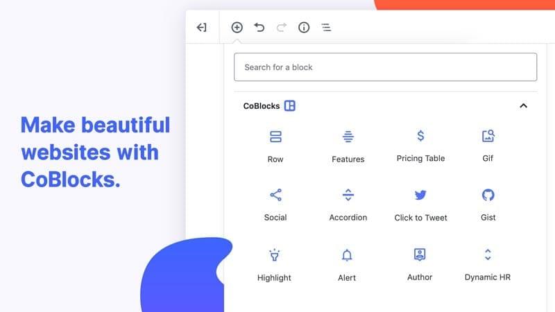Plugins para añadir bloques al editor de WordPress: CoBlocks