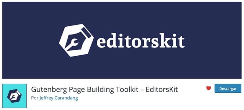 Plugins para añadir bloques al editor de WordPress: EditorsKit