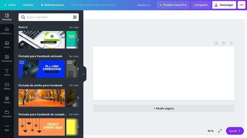 Crear una portada de Facebook con Canva