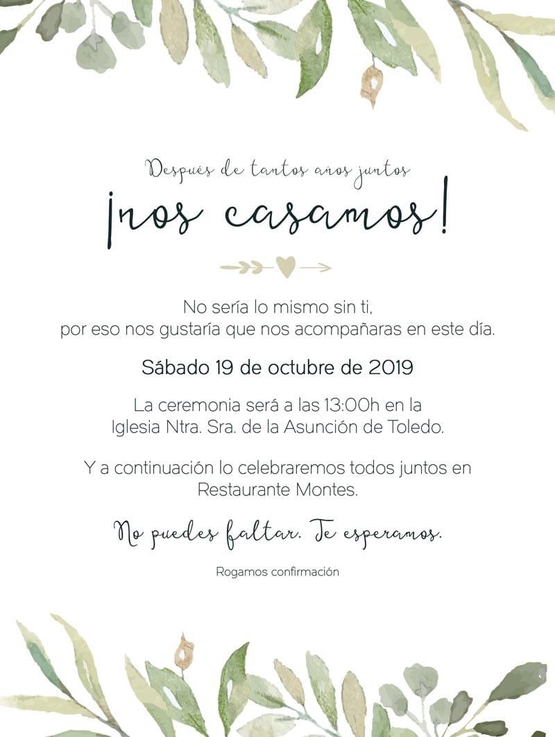 Portfolio Max Camuñas: invitación boda