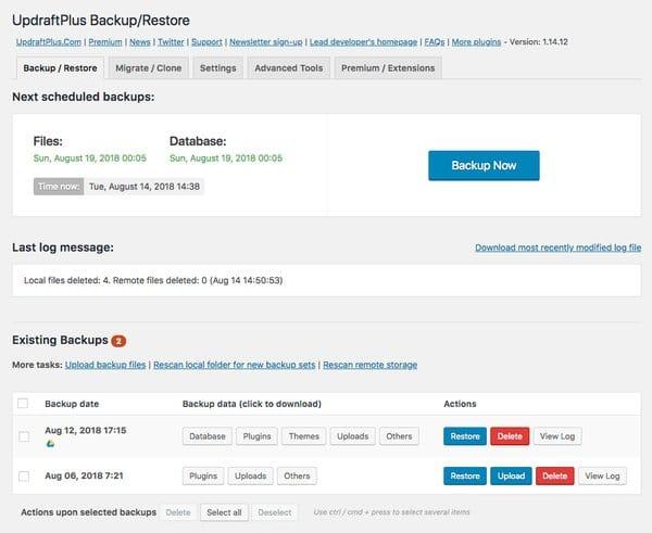 Plugins para hacer una migración en WordPress: UpdraftPlus