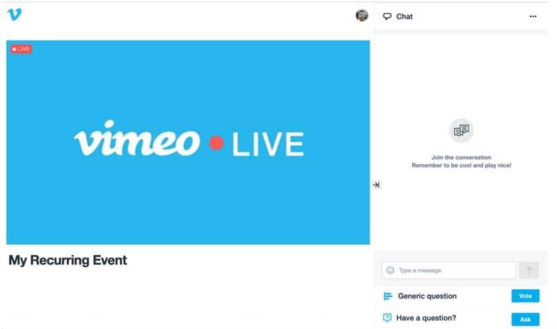 Plataformas y herramientas para emitir en streaming: Vimeo