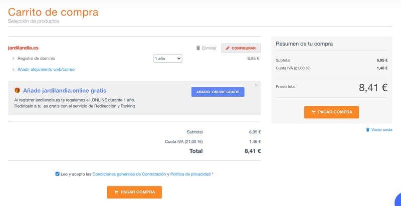 Cómo crear un blog en WordPress: registrar un dominio en DonDominio