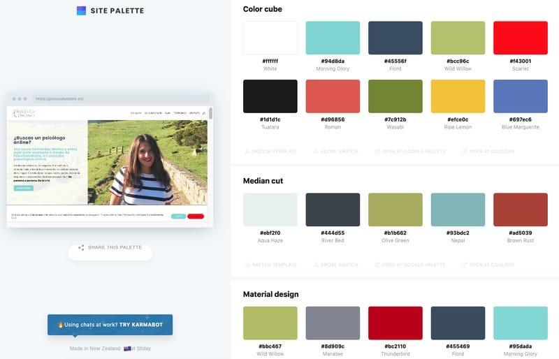 extensiones para Chrome: Site Palette / Slick color picker