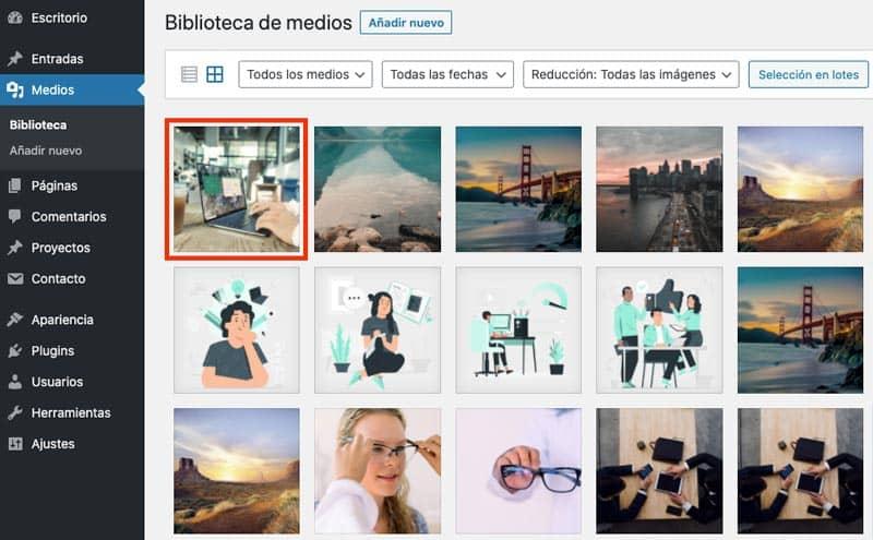 Cómo editar imágenes desde la biblioteca de WordPress