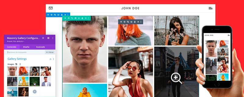 plugins galerías imágenes WordPress: Galería Masonry Divi