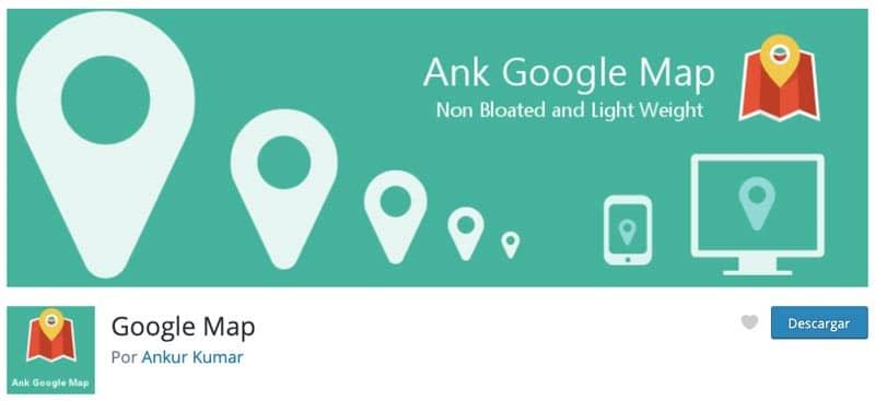 Plugins para añadir mapas en WordPress: Google Map