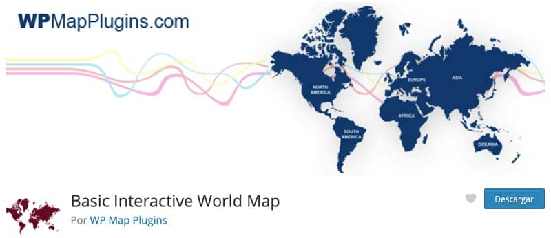 Plugins para añadir mapas en WordPress: Basic Interactive World Map