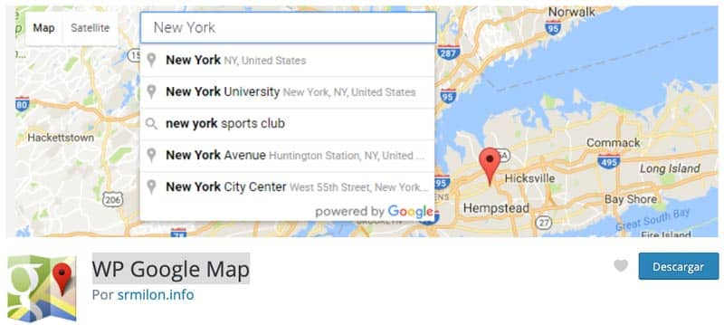 Plugins para añadir mapas en WordPress: WP Google Map