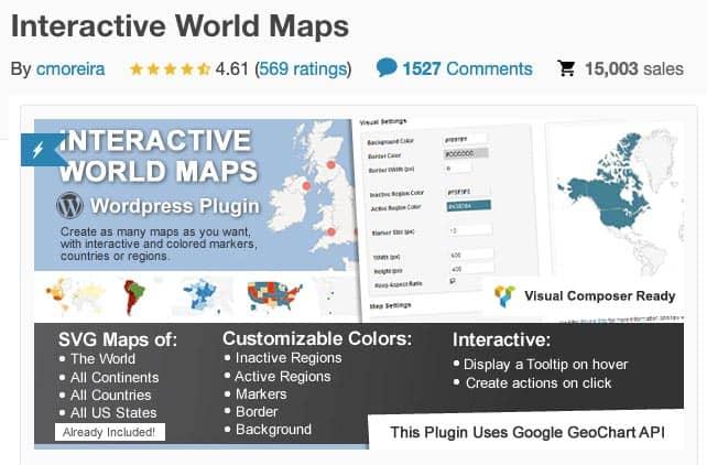 Plugins para añadir mapas en WordPress: Interactive World Maps