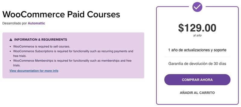plugins de WordPress para tiendas online: WooCommerce Paid Courses