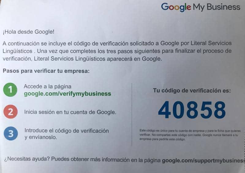 Verificar tu ficha de Google My Business